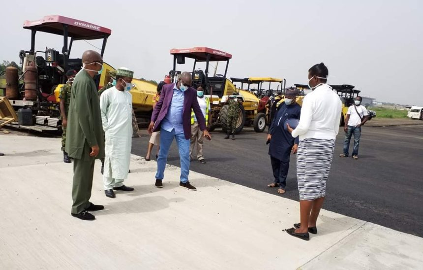 The Minister of Aviation, Hadi Sirika, and his team inspecting the project.