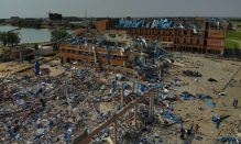 Rubbles of the school from the explosion
