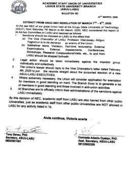 NEC Resolution on LASU