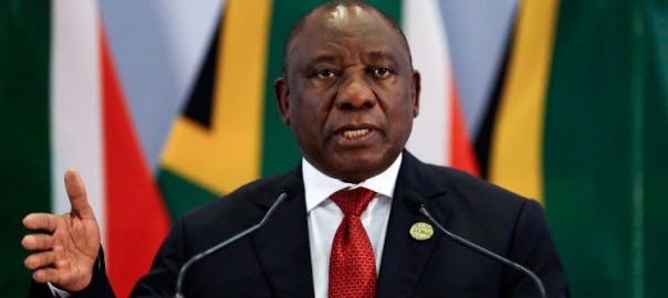 South African President Cyril Ramaphosa addresses a media conference at the end of the BRICS Summit in Johannesburg on July 27, 2018, as the heads of the BRICS group -- Brazil, Russia, India, China and South Africa -- met in Johannesburg for an annual summit dominated by the risk of a US-led trade war.