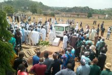 Abba Kyari's remains were brought in an ambulance to Gudu Cemetery in Abuja, where family members, as well as his colleagues, gathered to pay their last respect. [PHOTO: Sahara Reporters]