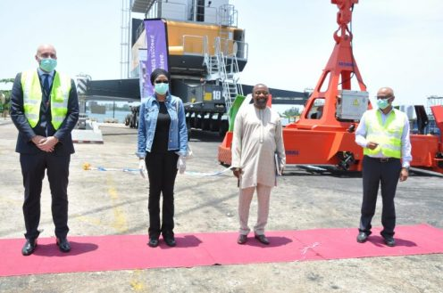L-R: The Head of Terminals, Africa and Middle East region of APM Terminals, David Skov; Managing Director of Nigerian Ports Authority (NPA), Hadiza Bala Usman; NPA's Executive Director, Marine and Operations, Onari Brown; and the Managing Director, APM Terminals Apapa, Martin Jacob at the commissioning two new multimillion dollars state-of-the-art Mobile Harbor Cranes acquired by APM Terminals Apapa on Thursday.