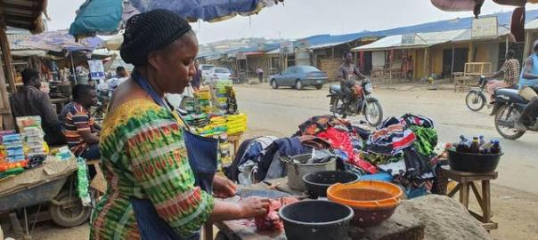 The catfish Seller popular know as mama Ibrahim doing her business.