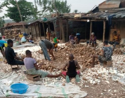 Widows of slain soldiers and their kids making garri at Ogbodo barracks in Ibadan