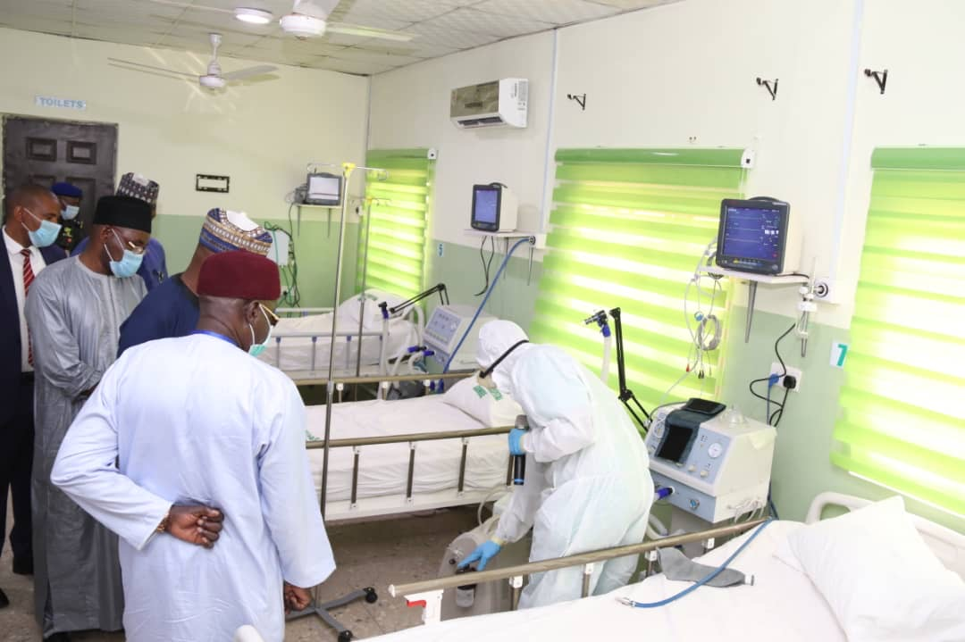 Governor Inuwa Yahaya of Gombe State inspecting the new isolation and treatment centres established in the state