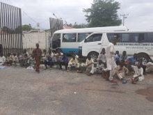 Stranded Almajiris from Nasaraw State at the entrance of Taraba SSGs office.