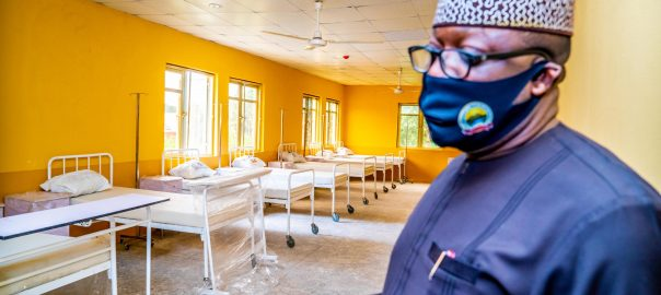 Ekiti State Governor, Dr. Kayode Fayemi during an inspection of facilities at the new 100-bed infectious Diseases Unit (isolation centre the treatment of covid-19 patients) in Ado Ekiti….on Monday