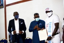 """Commissioner for Health, Dr. Ononye Mordi (middle); Secretary to State Government, Chiedu Ebie Esq. (left) and Chief Austin Eruotor, shortly after being decorated as """"Delta State Ambassador for the fight against COVID-19"""" held in Government House Asaba. PIX: BRIPIN ENARUSAI"""