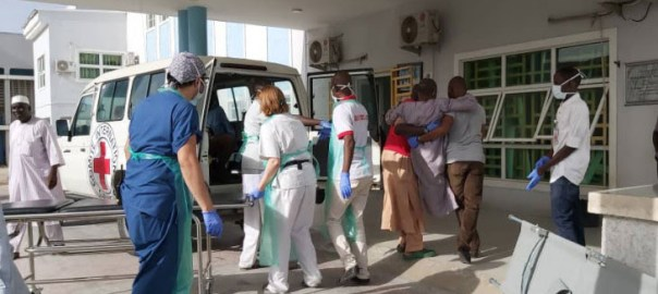 A team of International Committee of the Red Cross Surgical personnel evacuating wounded civilians to its facility at Maiduguri State Hospital for care