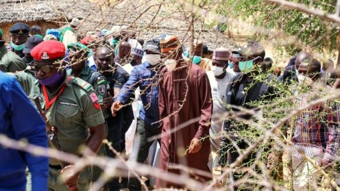 Borno State Governor, Babagana Zulum, visits Gubio village, told 81 died, village head, 6 others abducted. [PHOTO CREDIT: Official Twitter account of gov. Zulum]