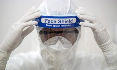 Face shield used to illustrate story