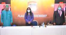 L-R: National Treasurer, Nigeria Union of Teachers (NUT), Segun Raheem; Corporate Affairs Director, Nigerian Breweries Plc., Sade Morgan and Head, Sustainability and Regulatory Relations, Nigerian Breweries Plc., Patrick Olowokere during the 2020 Maltina Teacher of the Year Flag-Off Ceremony held in Lagos today.