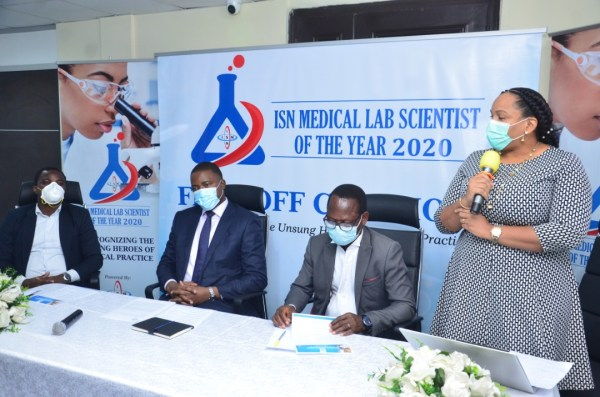 L-R , The Project Consultant, ISN Medical Laboratory Scientist of the Year Award, Mr Daniel Adewuni, the Executive Director SN Products Nigeria Limited, Mr. Felix Ofungwu, the immediate Past President, Association of Medical Laboratory Scientist of Nigeria (AMLSN), Dr. Toyosi Raheem and the Head, Business Development & Client Services, Dr. Sandra Achebe during the flag off of the maiden edition of the ISN Medical Laboratory Scientist of the Year Award held in Lagos today.