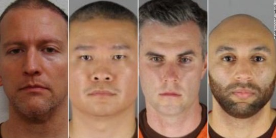 Derek Chauvin, Tou Thao, Thomas Lane Kiernan, and J. Alexander Kueng. Credit: Hennepin County Sheriff's Office.