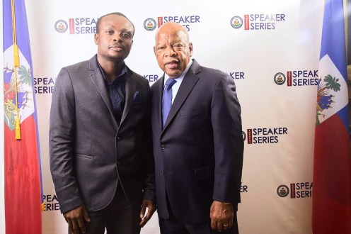 Writer with Congressman John Lewis at the Embassy of Haiti, Washington, DC, 2015.