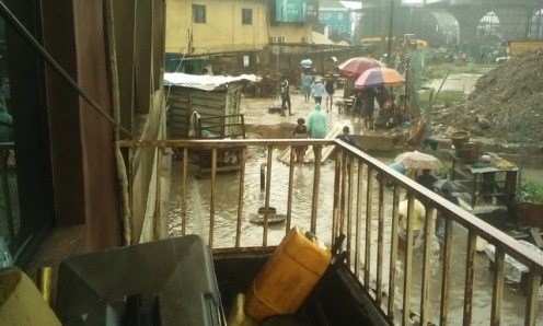 Agege residents battling flood