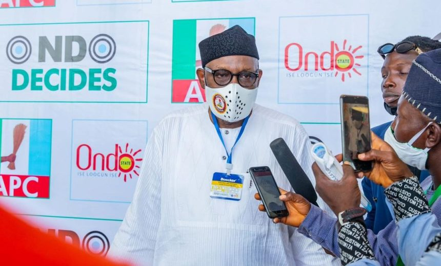 The governor of Ondo State, Rotimi Akeredolu, speaking to journalists after his victory at the APC primaries [PHOTO: @RotimiAkeredolu]