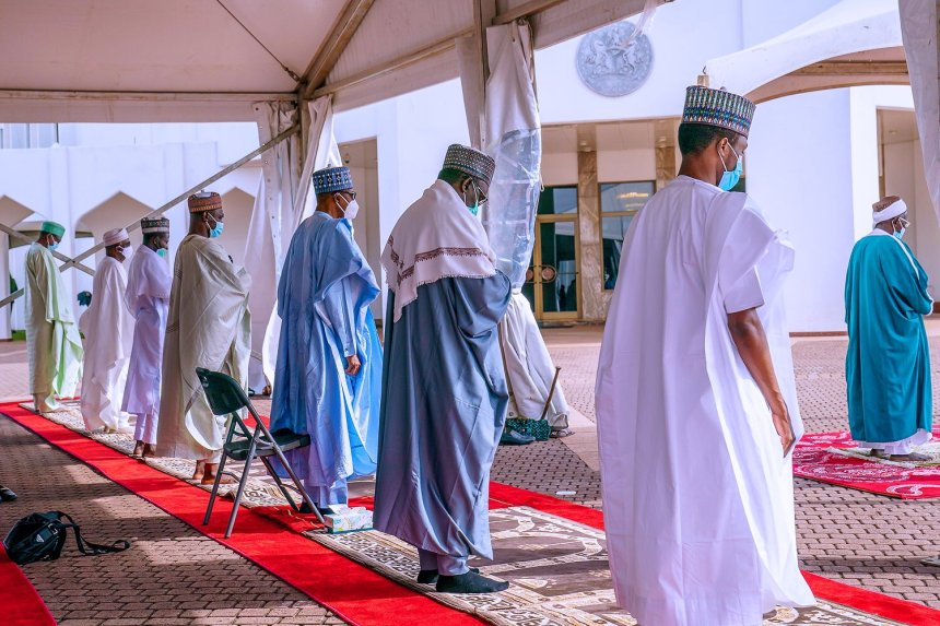 President Muhammadu Buhari observing the religious festival, Eid-ul-Adha.[PHOTO CREDIT: Official Twitter handle of Buhari]