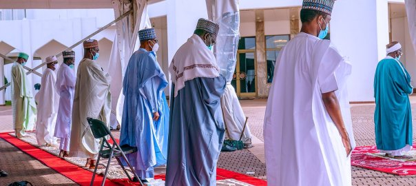 President Muhammadu Buhari observing the religious festival, Eid-ul-Adha.[PHOTO CREDIT: Official Twitter handle of Buhari]