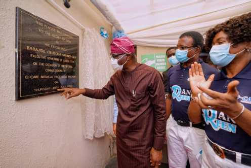 Governor Babajide Sanwo-Olu, on Thursday, opened the O-Care Medical Face Mask factory in Odofin Park Estate, Amuwo Odofin Local Government Area of the State [PHOTO: @followlasg]