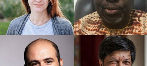 Clockwise from top left: Svetlana Prokopyeva (Artiom Avanesov); Dapo Olorunyomi (Dapo Olorunyomi); Shahidul Alam (Shahidul Alam); Mohammad Mosaed (Farid Kamran Nia)