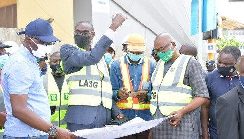 L-R: Lagos State Governor, Mr. Babajide Sanwo-Olu; Commissioner for Transportation, Dr. Federic Oladeinde; Consultant/ Supervisor, Engr. Iwayemi Olalekan, Special Adviser on Transportation, Mr. Toyin Fayinka and Commissioner for Information and Strategy, Mr. Gbenga Omotoso, during an inspection of the Allen junction regeneration and Roundabout removal, on Saturday, July 25, 2020.