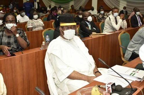 Akpabio at the NDDC scandal hearing [PHOTO: Sahara Reporters]