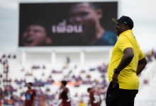 Nigerian coach, Adebayo Gbadebo supervising his Thai club Suphanburi FC [Photo credit: Suphanburi FC]