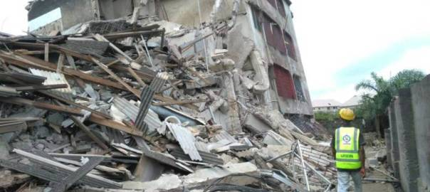 Collapsed building used to illustrate story