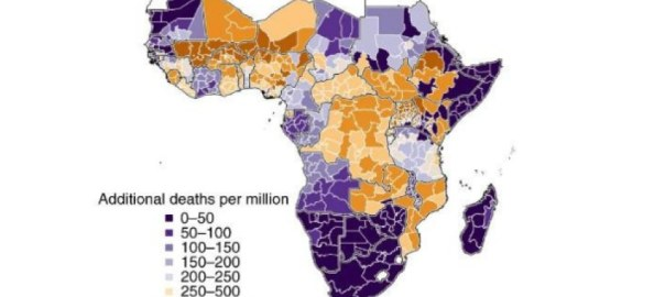 The potential public health consequences of COVID-19 on malaria in Africa - additional deaths per million. [PHOTO CREDIT: naturemedicine]