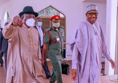 President Muhammadu Buhari and Former President Goodluck Jonathan heading to the First ever virtual Council of State meeting