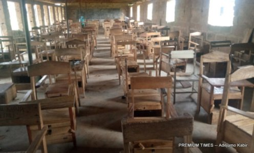 Dilapidated examination hall at Ansarudeen High School