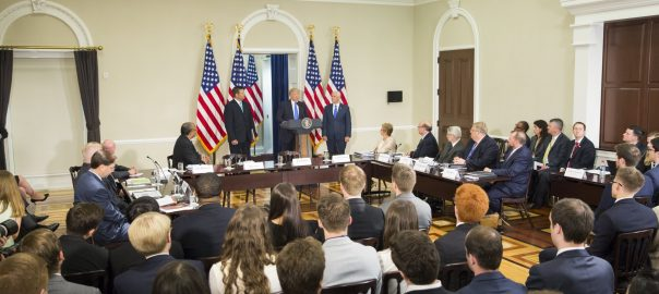 President Donald Trump of the United States delivering remarks with @VP at the Presidential Advisory Commission on Election Integrity Meeting. PHOTO CREDIT: Official Twitter handle of POTUS || @POTUS]