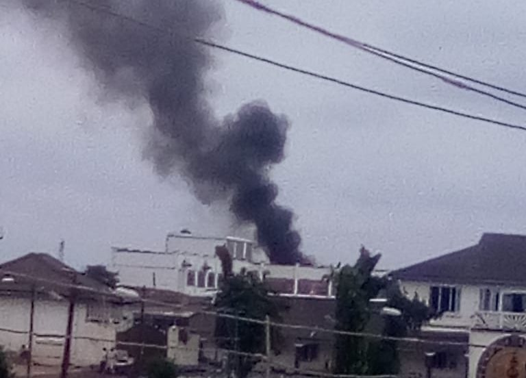 Smoke from the fire at the Ooni's palace
