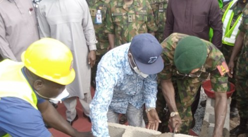 Governor Umahi with Lt Gen Lamidi Adeosun performing the ground breaking of the Nigerian Army Reference Hospital in Abakaliki yesterday.