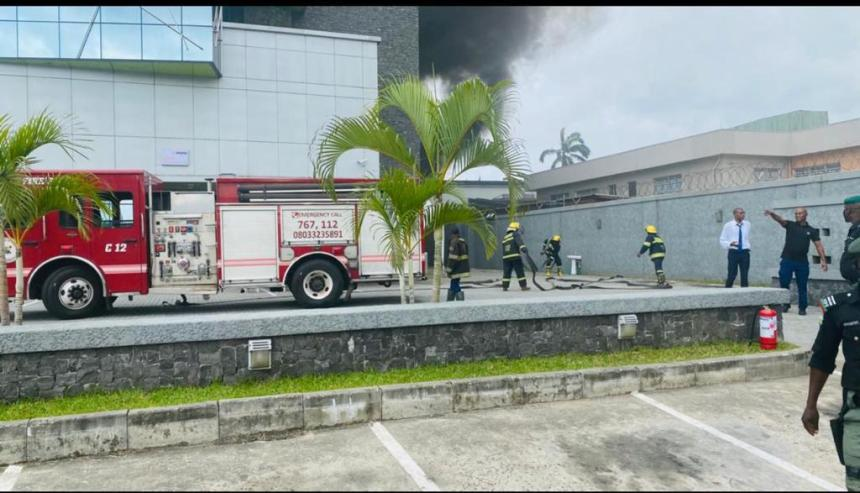 Emergency responders and fire fighters at the location to combat the Access Bank raging fire.