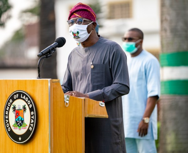 Lagos State Governor, Mr. Babajide Sanwo-Olu, addressing Lagosians on gradual easing of COVID-19 lockdown, at Lagos House, Marina, on Saturday, August 1, 2020.