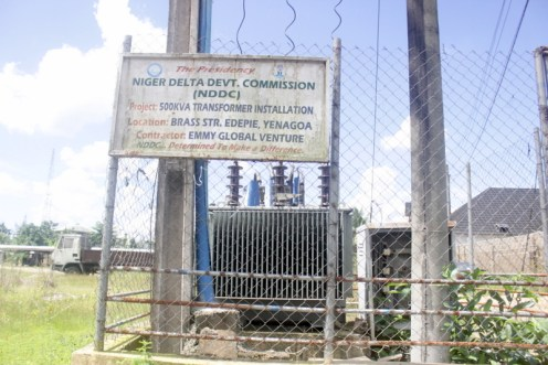 The NDDC transformer in front of Adogbeji's shop in Yenogoa. Photo by Patrick Egwu