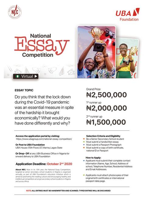 NEC 10th Edition: UBA Foundation Calls for Entries, Introduces Digital Submission Portal for Students