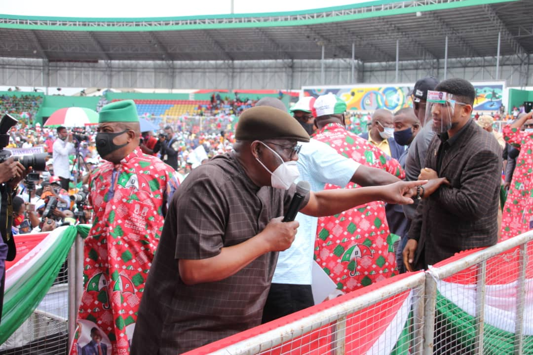 Governor Nyesom Wike leading PDP campaign in Edo [PHOTO CREDIT: @GovWike]