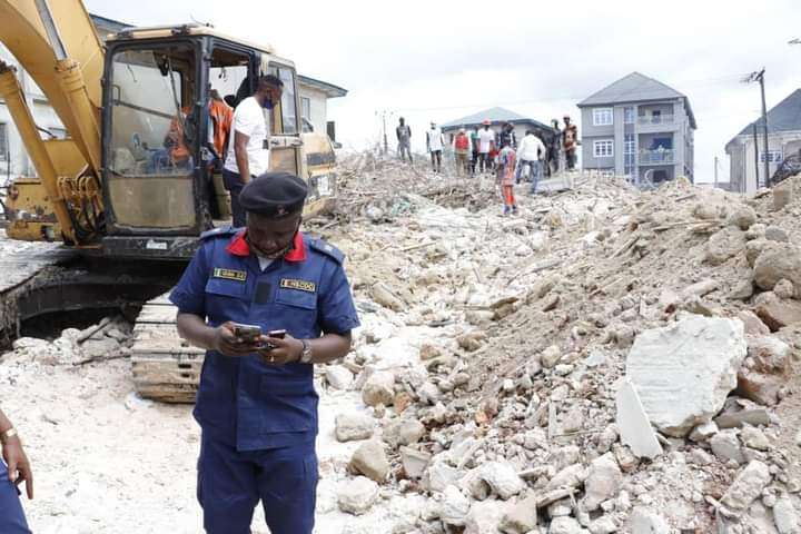Site of collapsed building in Abia