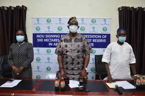 L-R: The Corporate Affairs Director, Nigerian Breweries Plc, Mrs. Sade Morgan; Commissioner for Forestry, Ogun State, Engr. Tunji Akinosi and Permanent Secretary, Ministry of Forestry, Ogun state, Mr. Lateef Adegbola-Benson during the signing of Memorandum of Understanding(MOU) between Nigerian Breweries Plc and Ogun State Government on the Olokemeji Reforestation Project in Abeokuta, Ogun state yesterday