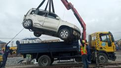 Highlander JEEP involved in the train collision