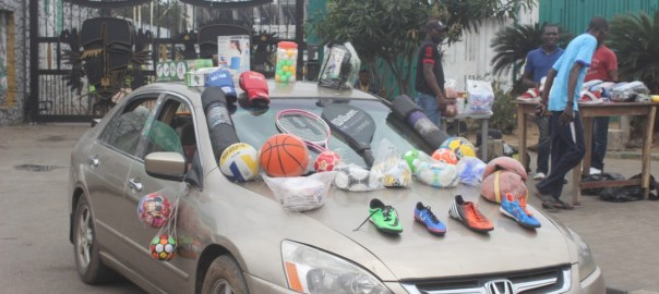 Traders now display their wares outside the stadium [PHOTO CREDIT: PREMIUM TIMES - Tunde Eludini]