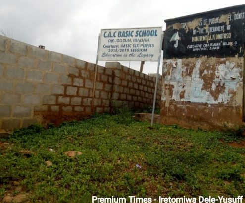 Newly constructed fence at the entrance of Christ Apostolic Church primary school, Oke Apon