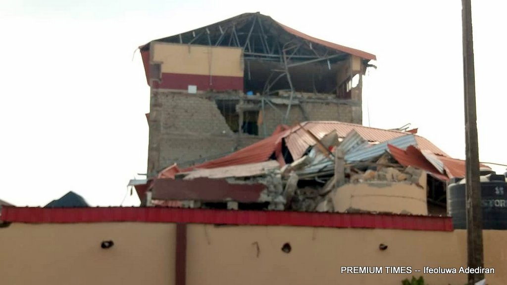 The collapsed school building