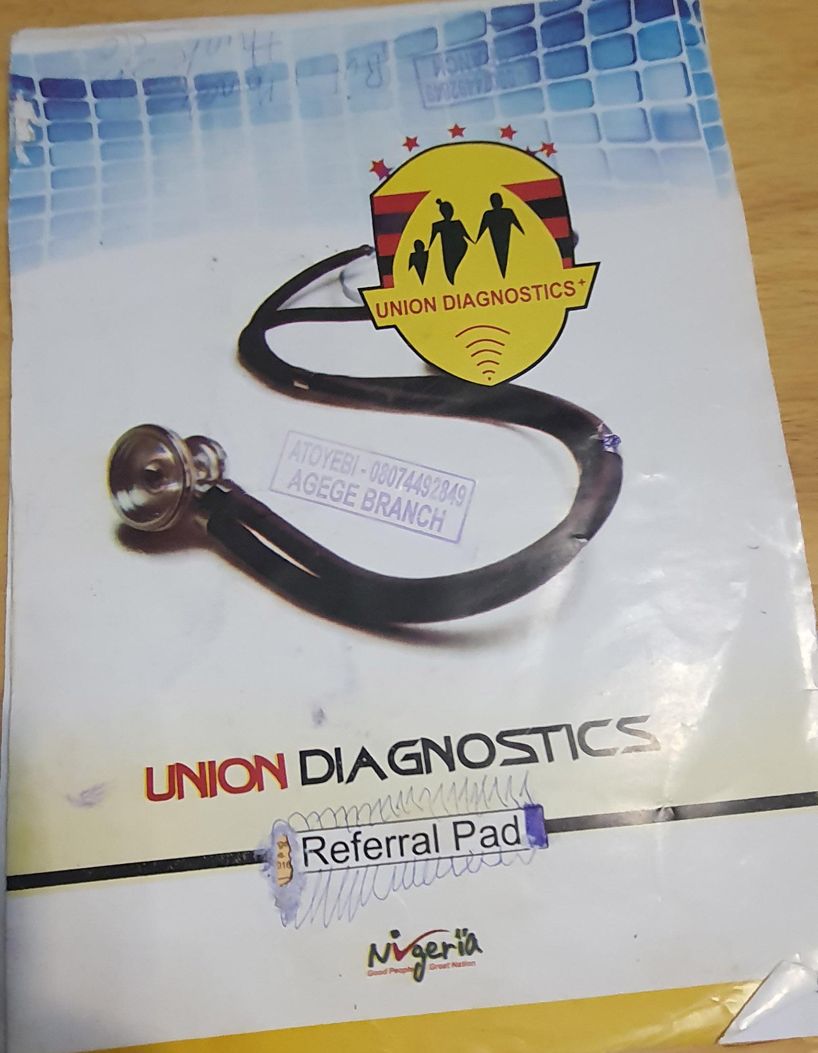 Union Diagnostics referral booklet