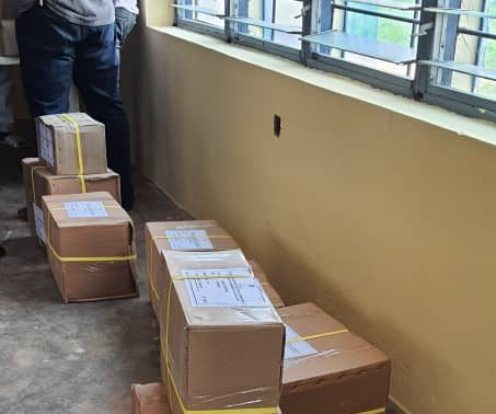 Boxes of ballot papers at the INEC office in Esan Central