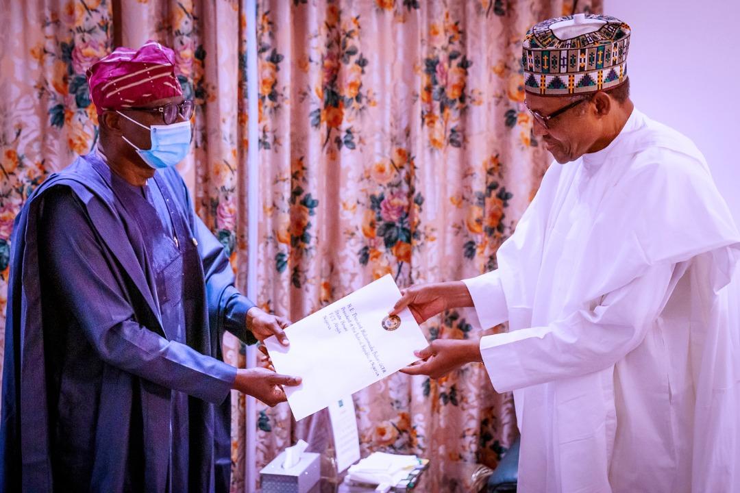 Governor Babajide Sanwo-Olu in a meeting with President Muhammadu Buhari