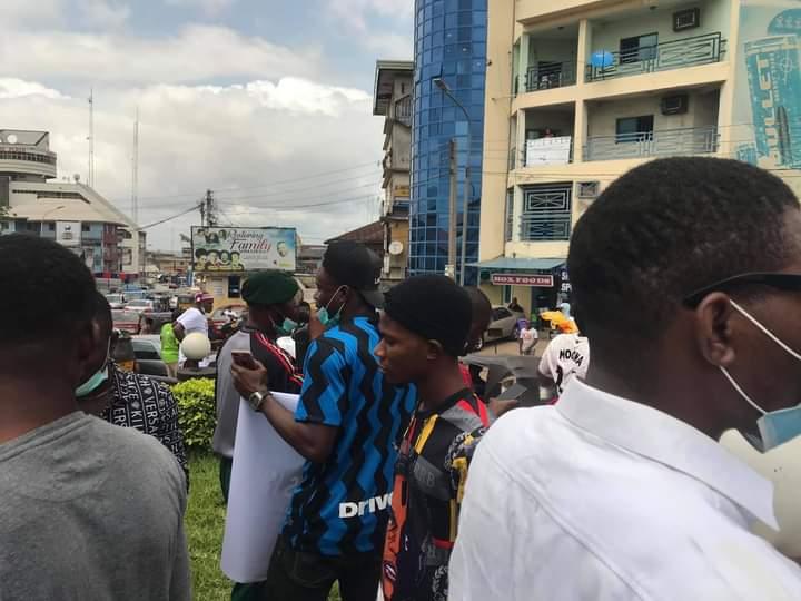 #EndSARS protesters in Onitsha